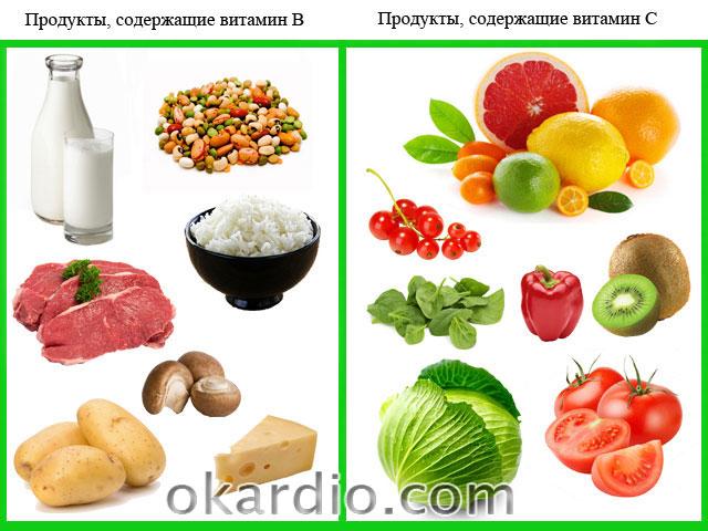 продукты, содержащие витамины В и С