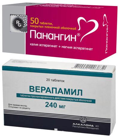 препараты Панангин и Верапамил