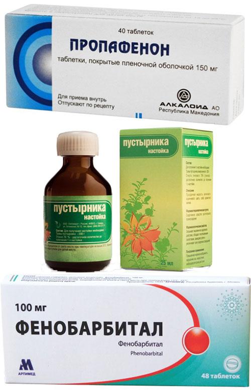 препараты Пропафенон, настойка Пустырника и Фенобарбитал