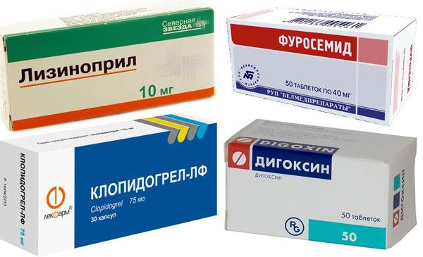препараты Дигоксин, Фуросемид, Лизиноприл и Клопидогрель