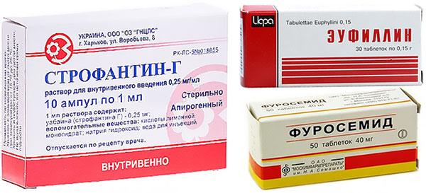 препараты Фуросемид, Эуфиллин и Строфантин