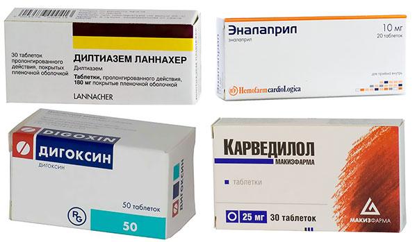 препараты Карведилол, Дилтиазем, Эналаприл и Дигоксин