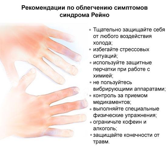 рекомендации по облегчению симптомов синдрома Рейно
