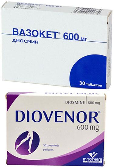 препараты Вазокет и Диовенор