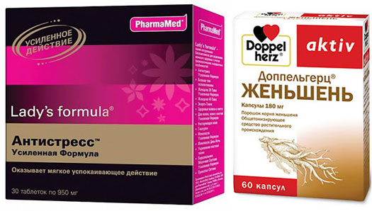 препараты Антистресс Формула и Доппельгерц Женьшень
