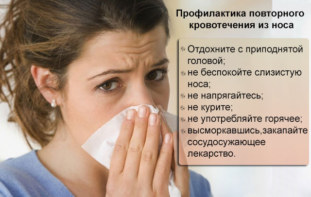 профилактика повторного кровотечения из носа