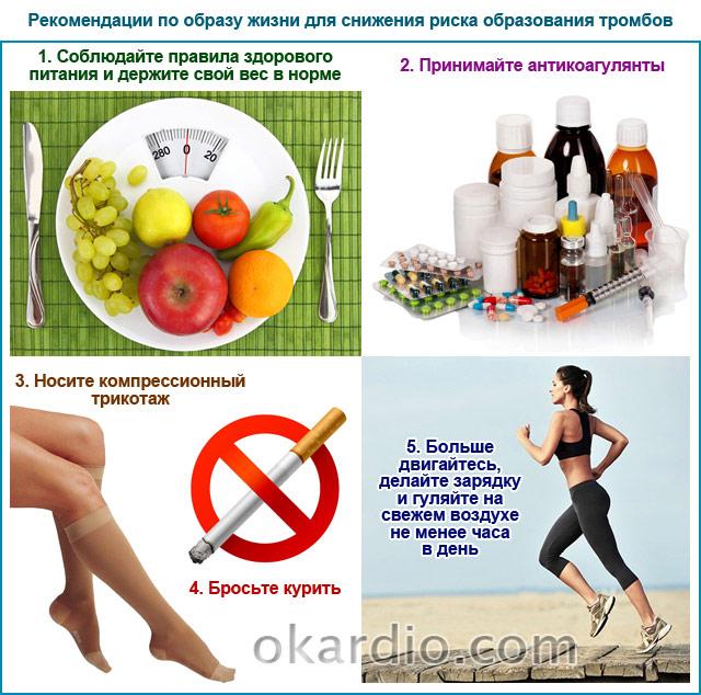 рекомендации по образу жизни для снижения риска образования тромбов