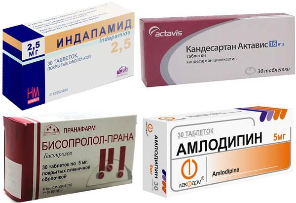 препараты Кандесартан, Индапамид, Бисопролол и Амлодипин