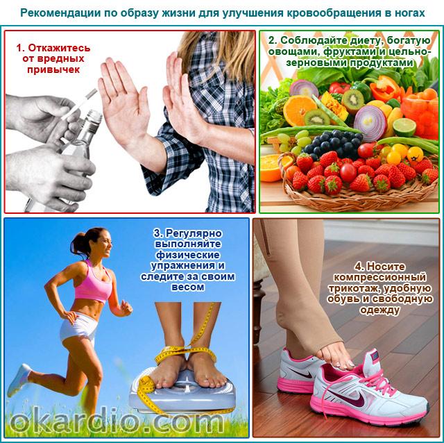 рекомендации по образу жизни для улучшения кровообращения в ногах
