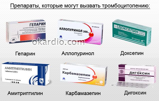 препараты, вызывающие тромбоцитопению