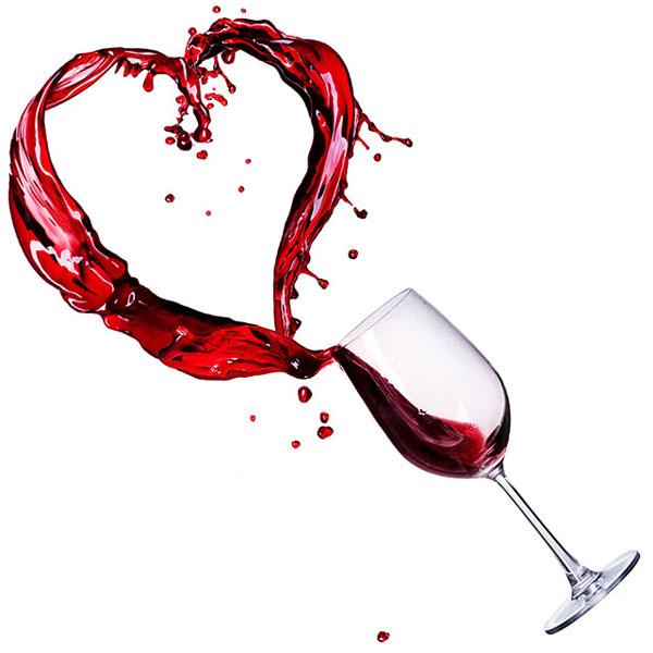 вино в виде сердца