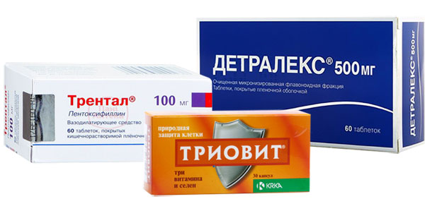 препараты Трентал, Детралекс, Триовит