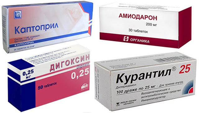 препараты Каптоприл, Дигоксин, Амиодарон и Курантил