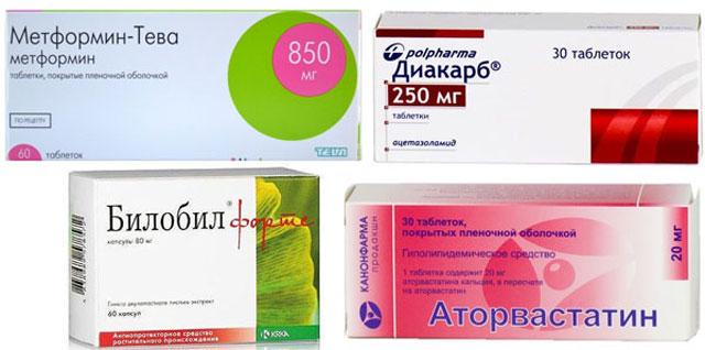 препараты Метформин, Аторвастатин, Диакарб и Билобил