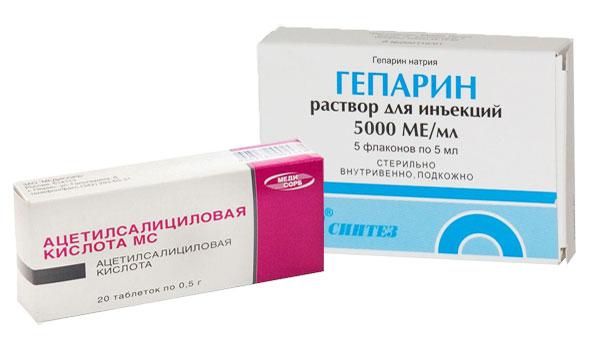 препараты гепарин и ацетилсалициловая кислота