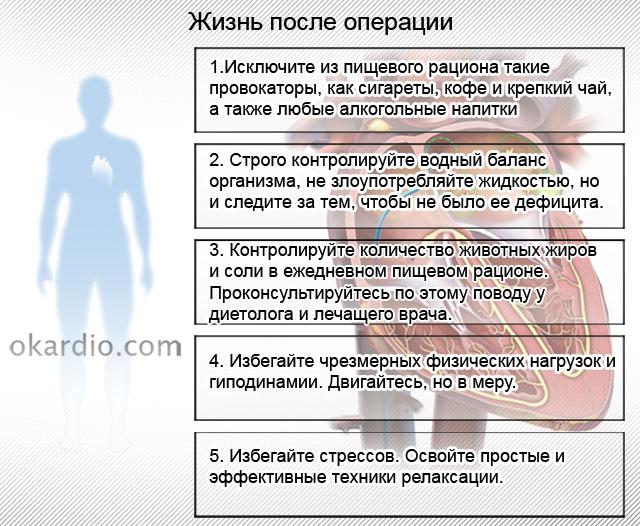 основные рекомендации для пациента после абляции сердца