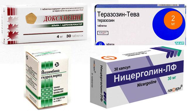 препараты Доксазозин, Теразозин, Йохимбин и Ницерголин