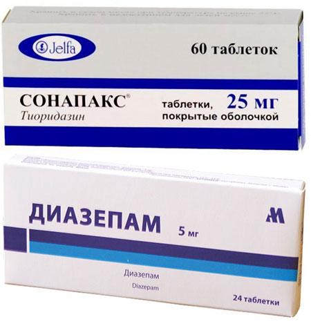препараты Диазепам и Сонапакс