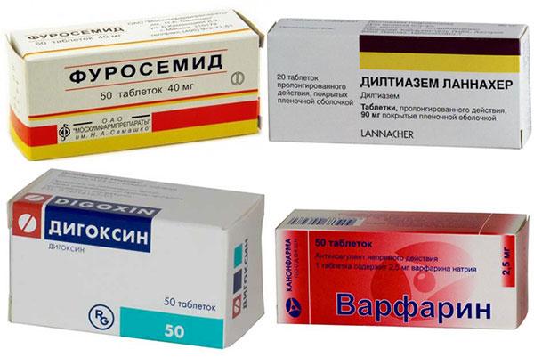 препараты Варфарин, Фуросемид, Дигоксин и Дилтиазем