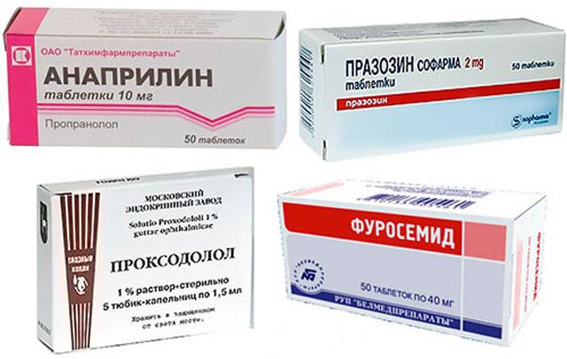 препараты Празозин, Анаприлин, Проксодалол и Фуросемид