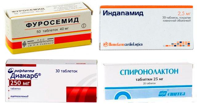 препараты Фуросемид, Индапамид,  Диакарб и Спиронолактон