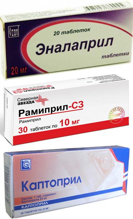 препараты Эналаприл, Рамиприл и Каптоприл