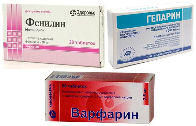 препараты Фенилин, Гепарин и Варфарин